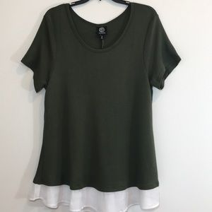 Bobeau  Green and White layered  t-shirt NWT